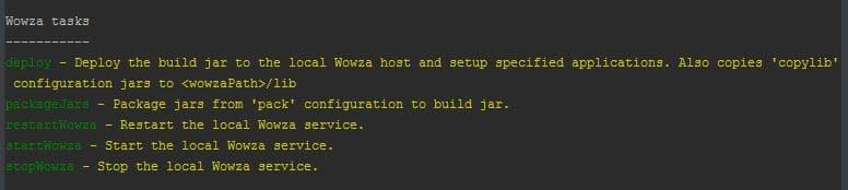 'gradle tasks' ran on Wowza Gradle Plugin script