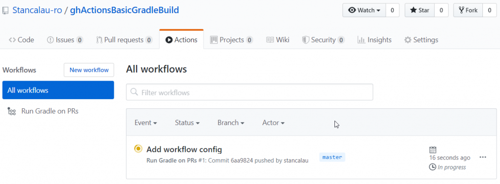 GitHub Actions Gradle All Workflows Screen